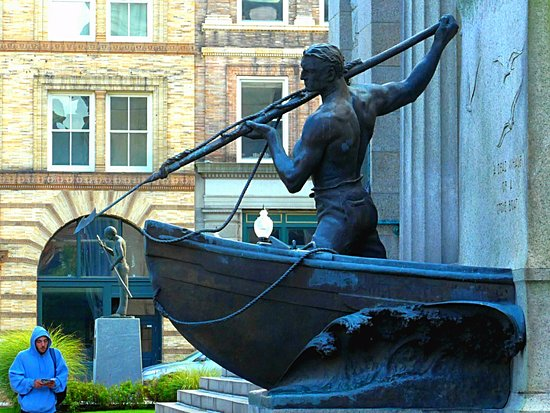 Whaleman's Statue, main entrance, New Bedford Free Public Library, New Bedford, Mass.