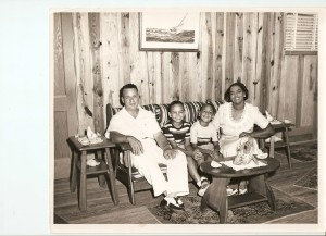 Wade Sr., Wade Jr., Kenneth and Caronell Chestnut at their cottage at Ocean City. The Chestnuts were the first family to buy cottages at the African American beach resort and played a leading role in its development. Courtesy, Ocean City Beach Citizens Council