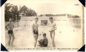 Municipal swimming pool, City of Monroe, 1937. Two decades later, this was the scene of the famous civil rights protests led by Robert Williams. Courtesy, Union County Public Library