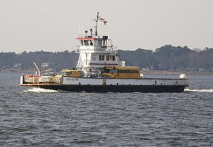 A school bus rests on the state ferry that runs between Knotts Island and Currituck, N.C. Courtesy, Gary McCullough