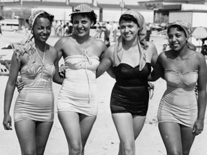 Ladies on Chicken Bone Beach, Atlantic City, NJ. From the John W. Mosley Collection, Charles L. Blockson Collection at Temple University Libraries