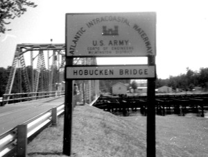 The old Hobucken Bridge, Intracoastal Waterway, Pamlico County, N.C.  Hobucken is one of two communities on Goose Creek Island. From the Odell Spain Photograph Collection