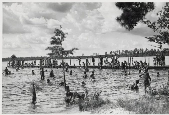 Children swimming at Jones Lake State Park, Bladen County, N.C., ca. 1940-60. Courtesy, State Archives of North Carolina