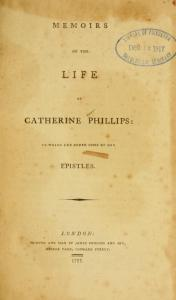 A copy of Phillips' Memoirs, published in London in 1797, three years after her death. Her son James, a printer, published the volume. Courtesy, Princeton Theological Seminary Library