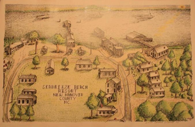 Seabreeze, by C. Grissell, drawing from 1993 of the African American beach resort as it was ca. 1920-1955. From Elaine Blackmon Henson, Carolina Beach (Arcadia Press, 2007)