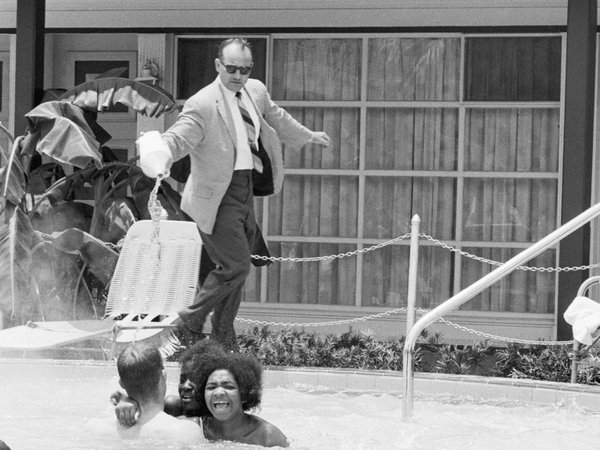 In April 1964 James Brock, the manager of the Monson Motor Lodge in St. Augustine, poured acid into the hotel's swimming pool. He was seeking to drive protestors out of the whites-only pool. Bettman/Corbis