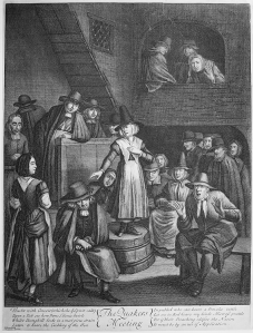 Quaker women preaching in the 17th century. This etching mocked Quakers for the relatively high status of women in the faith.