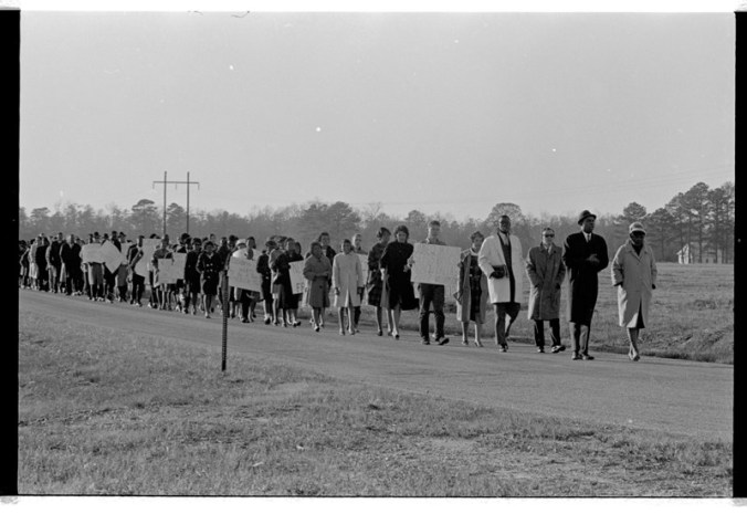 Civil rights protest in Bear Grass, a small community in Martin County, N.C., Dec. 16, 1963. From the Daily Reflector Image Collection, East Carolina University Digital Collections