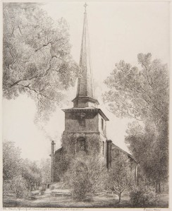 St. Paul's Episcopal Church, Edenton, N.C., etching on paper by Louis Orr, 1939-51. When Susan Johnson visited Edenton, the church did not yet have its steeple. Courtesy, N.C. Museum of Art