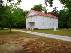 The Old Bluff Presbyterian Church, Wade, N.C. While the church was first established in 1758, the congregation did not raise this Greek Revival building until a century later. Image from Flickr user Gerry Dincher.