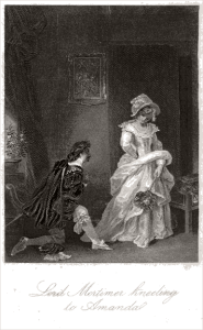 """Lord Mortimor kneeling to Amanda,"" frontispiece from Regina Maria Roche's The Children of the Abbey"" (1796). A recent blogger called it ""one of the all time great cheesy novels"" and noted it was in print throughout the 19th century."
