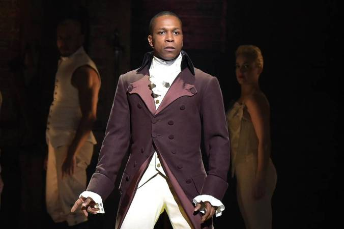 "... and actor Leslie Odom, Jr., at the Grammy Awards in 2016. He was Aaron Burr in the original cast of the hit Broadway musical ""Hamilton."""