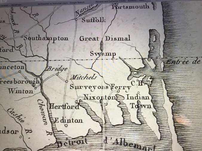 """Detail of an 1807 French map showing Susan Johnson's route by stagecoach from Suffolk, Va., to Edenton, N.C. The map indicates the location of the Stage Road, the Great Dismal Swamp and Richard Mitchell's plantation. """"Cartes des provinces meridionals des Etats-Unis"""" (Paris: Chez du Pont, 1807), William Patterson Cumming Map Collection, Davidson College"""
