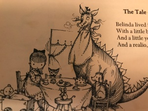 "Illustration of Ogden Nash's poem, ""Custard the Dragon,"" in Louis Undermeyer's anthology, The Golden Treasure of Poetry (1959). Drawing by Joan Walsh Anglund"