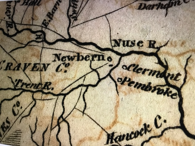 Detail from an engraving in Payne's Geography, a 4-volume work published in New York in 1799 and 1800. The detail shows New Bern and the Nash family's plantation Pembroke, as well as the Trent and Neuse Rivers. It also shows Clermont, the plantation of Richard Dobbs Spaight, another of the state's governors.Courtesy, State Archives of North Carolina