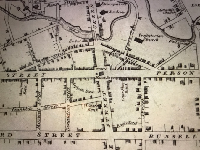 Detail from map of Fayetteville, N.C., ca. 1825, by Peter McRae. University of North Carolina at Chapel Hill