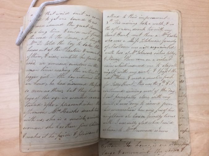 Susan Johnson's diary of her stay in coastal North Carolina in 1800-1801, Connecticut Historical Society, Hartford, Conn.