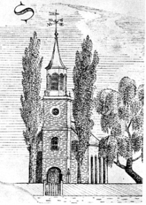"Christ Church, New Bern, N.C. Built ca. 1750, the church was the town's only house of worship when Susan Johnson visited in 1800 and 1801. Detail from the 19th century Price ""Map of North Carolina."""