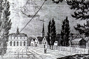 Etching of Fayetteville with the Old State House in the distance, ca. early 1800s. The building burned in the great fire of 1831. The original drawing on which this etching was based was said to have been drawn by a passerby and given to the Marquis de Lafayette on his visit to the town in 1825. Courtesy, N.C. Museum of History
