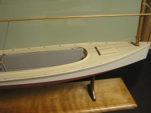 Model of a New Haven sharpie, by Alfred S. Brownell, Providence Public Library. Boatbuilders on Core Sound and the Beaufort-Morehead City area in N.C. adopted the New Haven sharpie for fishing, oystering and freight carrying beginning in the 1870s. For several decades, the sharpie was the region's most popular workboat. Courtesy, Providence Public Library