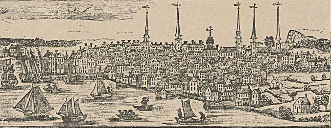 View of New Haven, Conn., 1786. Reproduction of an original woodcut by Daniel Bowen. Courtesy, Yale Art Gallery