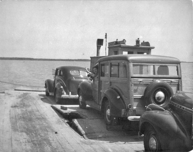 Anne Warner on the Dare County ferry, ca. 1940. From the Frank and Anne Warner Papers, David M. Rubenstein Rare Book & Manuscript Library, Duke University