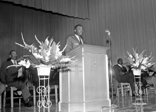 Dr. King addressed the student body at Hillside High School in Durham, N.C., on October 15, 1956. Photo by Jim Sparks. Courtesy, the Durham Herald-Sun.