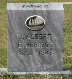 This is probably the gravestone for the Albert Etheridge who, the Library of Congress's records say, recorded songs for the Warners in Wanchese, N.C. Judging by the picture above his name, he had served on a 5-masted schooner, probably one of the big coal, limestone or grain haulers that plied the seas well into the 20th century, at the very end of the Age of Sail. The gravestone is located in the Cudworth Cemetery, Wanchese, N.C. Courtesy, Sherry Duval