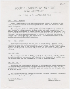 "Memo from SCLC leaders Ella Baker and Martin Luther King, Jr., calling for a ""Youth Leadership Meeting"" at Shaw University in Raleigh, N.C., in April 1960. That meeting led to the founding of one of the country's most important civil rights organizations, the Student Non-violent Coordinating Committee. Courtesy, Schomburg Center for Research in Black Culture, Manuscripts, Archives & Rare Books Division, New York Public Library."
