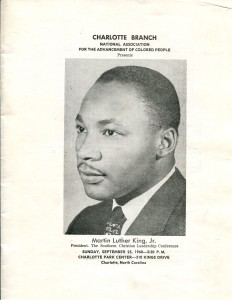 The Charlotte branch of the NAACP welcomed Dr. King to Charlotte, N.C., in September 1960. Courtesy, J. Murrey Atkins Library Special Collections, UNC-Charlotte.