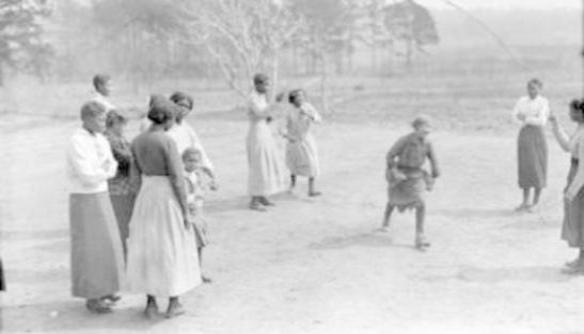 Children jumping rope at the Pamlico County Training School, ca. 1918. Courtesy, Special Collections, University of Virginia Library, Charlottesville, Va.