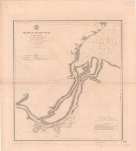 """Mouths of the Roanoke River,"" U.S. Coast and Geodetic Survey, 1902). The town of Plymouth is at the lower left section of the map. Albemarle Sound is in the upper right section of the map. Courtesy, Outer Banks History Center, State Archives of North Carolina."