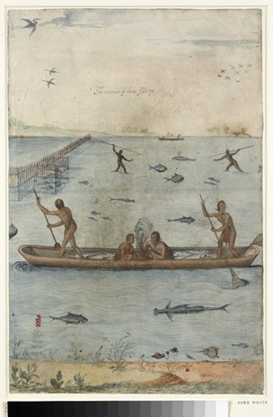 "John White, ""The manner of their fishing,"" 1585-1593. Courtesy, the British Museum. We can see the Algonquian fishermen's weir on the lefthand side. In his Briefe and True Report of the New Found Land of Virginia (first published in 1588), Thomas Hariot describes more complicated Algonquian fishing weirs than the one portrayed here."