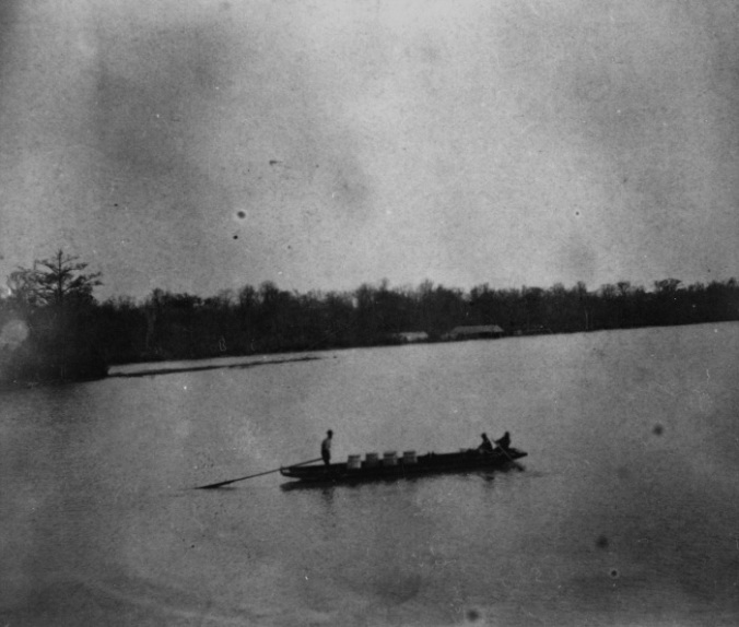 Fishermen guide a flatboat down the Roanoke River, below Plymouth, N.C., ca. 1875-1905. They are carrying barrels of salt herring. From NOAA Historic Fisheries Photograph Collection. Courtesy, National Archives