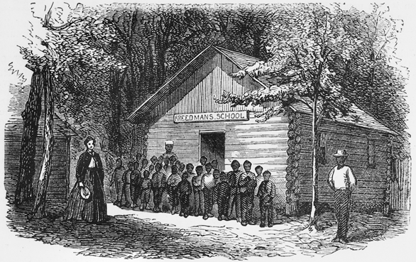 "While Ku Klux Klansmen often terrorized ""scalawags"" such as the Rev. Cox's father during Reconstruction, they more often attacked African Americans. They especially targeted black schools, teachers and students. 1868 engraving of ""James' Plantation School,"" probably in Pitt County. Courtesy, N.C. Collection, UNC Library, Chapel Hill, N.C."