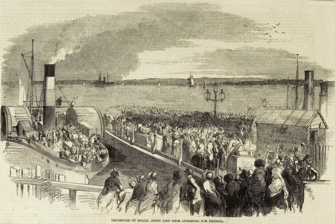 Crowds gathered to see Jenny Lind depart from Liverpool to come to the U.S. for her tour in 1850. <em>The Illustrated London News</em>, 24 Aug. 1850.
