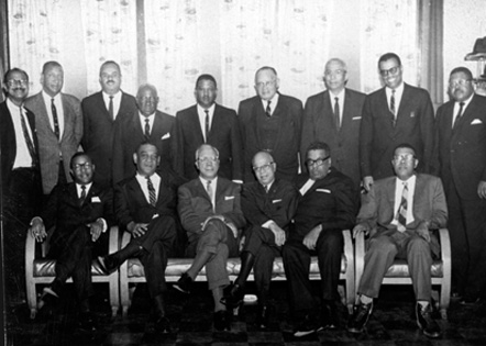 Group portrait of Durham's African American lawyers, undated. H. Hugh Thompson, who represented Pamlico County's black parents in 1951, is standing in the back row, 6th from the left. Courtesy, Durham County Public Library