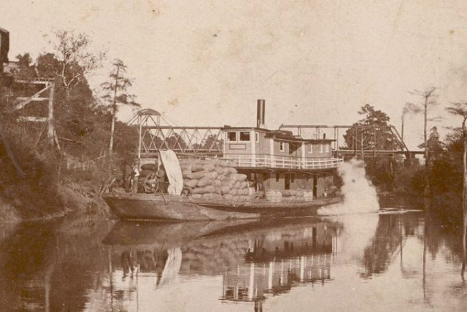 The Shiloh coming into Tarboro, ca. 1900. She is heavy laden with either cotton or cottonseed picked up at Shiloh Landing. Courtesy, Edgecombe County Memorial Library
