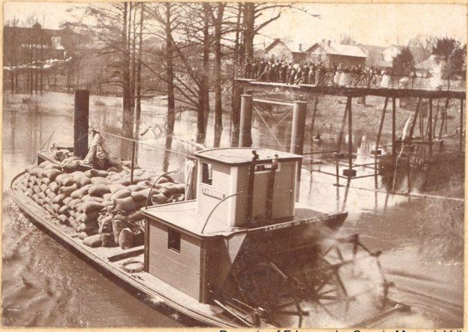 Steamer Tarboro passing the public dock in Tarboro, N.C., Dec. 1898. Courtesy, Edgecombe County Memorial Library