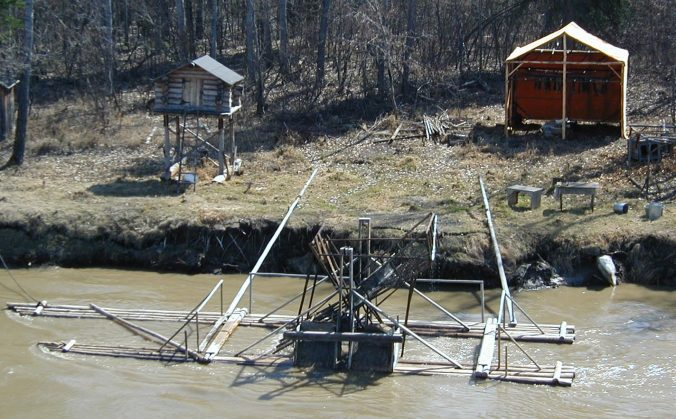 A modern-day fish wheel at a fishing camp on the Chena River in Alaska, 2002.