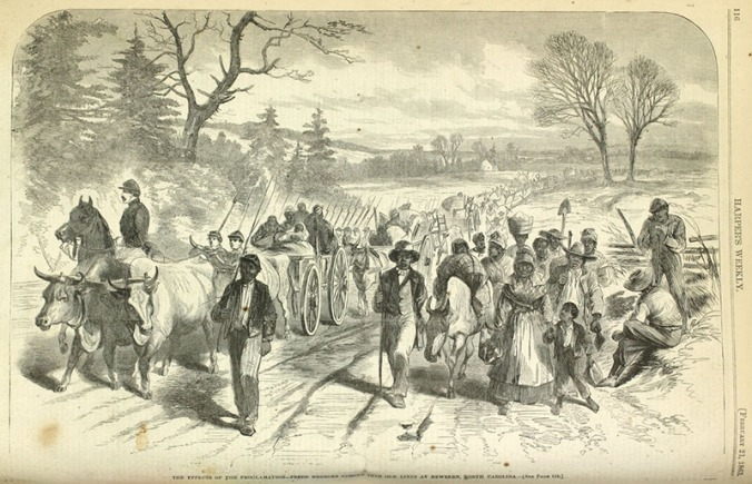 """""""The Effects of the Proclamation-- Freed Negroes Coming into our Lines at Newbern [sic], North Carolina,"""" Harper's Weekly, Feb. 21, 1863. Courtesy, Library Company of Philadelphia"""