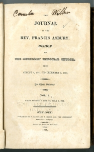 Francis Asbury's journals from 1771 to 1815 were published in 3 volumes only a few years after his death in 1816. Courtesy, Bridwell Library, Perkins School of Theology, Southern Methodist University.