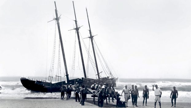 The wreck of the Nomis, 1935. Photo by Selma Wise Spencer. Courtesy, Ocracoke Preservation Society
