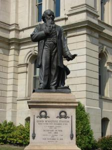 Statue of Edwin Stanton, Steubenville, Ohio. Steubenville was one of the Ohio communities largely founded by his grandmother Abigail and other Quakers from Carteret, Craven and Jones counties, N.C. Courtesy, Town of Steubenville