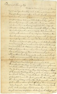 """Letter from Horton Howard to Mary (Dew) Howard, 1799.Horton Howard describes the NC delegation's first journey to the Northwest Territory in this and other letters in the Forrer-Peirce-Wood Collection at the Dayton Metro Library in Dayton, Ohio. From Lisa P. Ricky's """"Glancing Backwards"""" blog. Image courtesy of the Dayton Metro Library."""