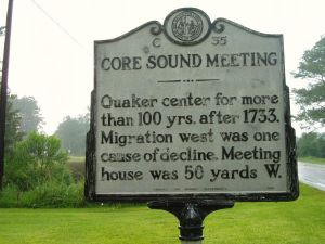 State historical marker commemorating the Core Sound Monthly Meeting, Carteret County, N.C. The plaque is at the site of the old Quaker meetinghouse, which is now the site of the Tuttle Groves United Methodist Church. The Core Sound Meeting Burial Ground, also called the Old Quaker Cemetery, is behind the church. Courtesy, Find A Grave contributor MGreen2