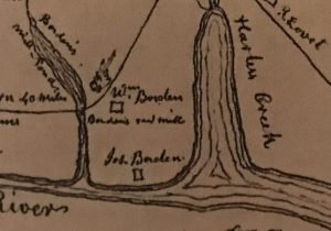 Detail of map showing Borden plantations, Borden's Creek, Harlowe Creek & the Newport River, ca. 1799-1800. From The Williams History