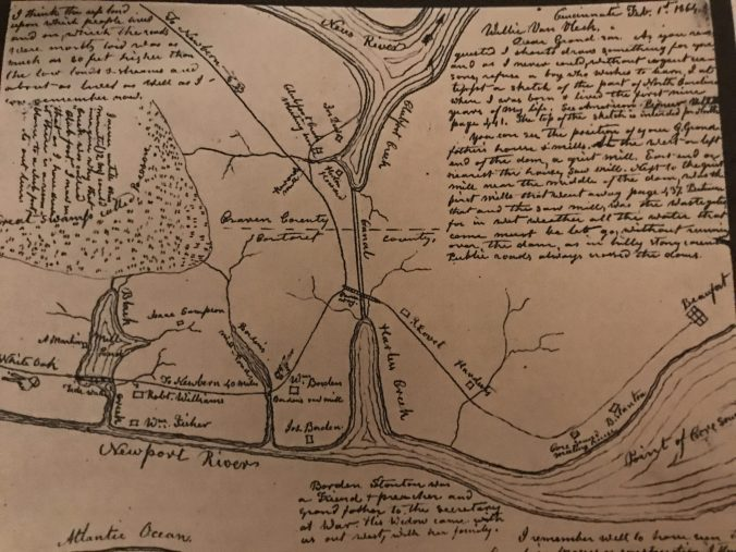 Map by John Shoebridge Williams. From Milton Franklin Williams, The Williams History: Tracing the Descendants in America of Robert Williams, of Ruthin, North Wales, who Settled in Carteret County, North Carolina, in 1763 (Cincinnati, Ohio, 1921).