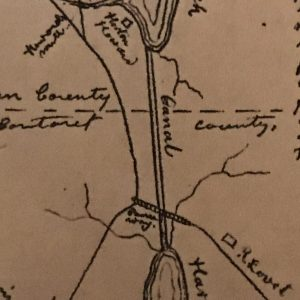 Detail from map showing the Clubfoot Creek and Harlowe Creek Canal, ca. 1799-1800. From Milton Franklin Williams, The Williams History (1921).