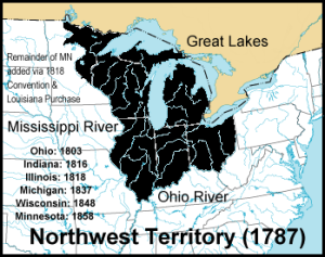 Map of the Northwest Territory in 1787 and the states that were later established out of it. The Northwest Territory is colored black. From Wikimedia Commons